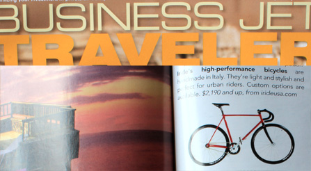 Business-Jet-Traveler-magazine-IRIDE-Italian-Bicycles, featuring photo and article about Iride bicycles. Magazine photo about IRIDE high performance and components