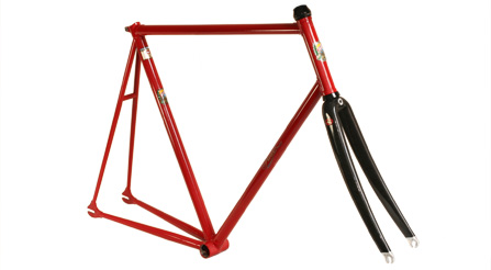 photographic proof of IRIDE high performance frame and components lightest steel track bike frame kit, with fork and headset.photo documentation