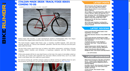 Bike Rumor features article about Iride bicycles Magazine photo about IRIDE high performance and components