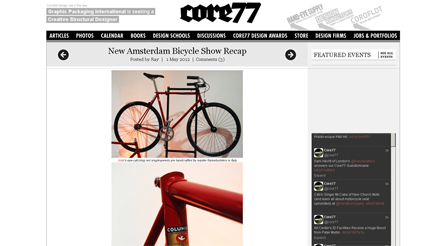 Core 77 features Iride bicycles NYC Insider features article about Iride bicycles Magazine photo about IRIDE high performance and components