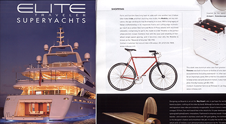 Elite Traveler Magazine, a print quarterly Superyachts issue, featuring photo and article about Iride bicycles. Magazine photo about IRIDE high performance and components