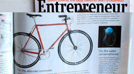 E Magazine, a print  issue, featuring photo and article about Iride bicycles. Magazine photo about IRIDE high performance and components