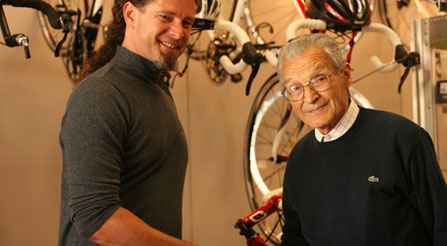 Me shaking hands with Giovanni Pinarello at Pinarello HQ in Treviso, Italy