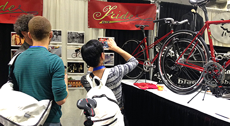 photo of Iride, and high quality people. Fine Italian Bicycle display at North American Handmade Bicycle Show