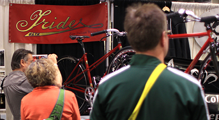 photo of show, where Iride, Fine Italian Bicycle display at North American Handmade Bicycle Show