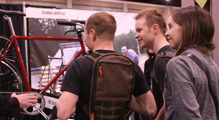 IRIDE usa booth comes together at north american handmade bicycle show