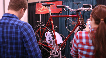 photo of Iride, Fine Italian Bicycle display at North American Handmade Bicycle Show 2014, Charlotte, North Carolina NAHBS