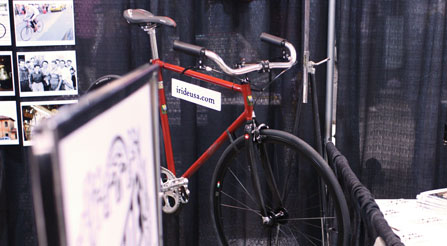 IRIDE-roadster-bicycle-upright-handlebars-at-handmade-bike-trade-show-IMG_9266-b-booth-dtl2-load-in-at-north-american-handmade-bicycle-show-2013-denver-nahbs-chris-king-gates-belt-drive-brooks-conti