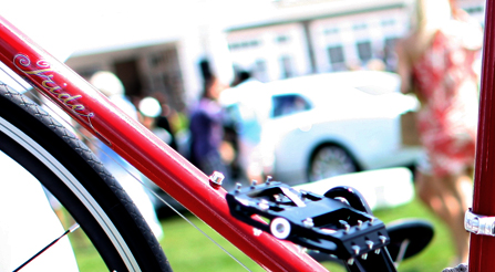 A photo showing that Italian bicycles cause envy at the Hamptons luxury event.