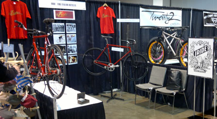 booth-at-nahbs-trade-show-bicycle-IRIDE-scene-Pic915-load-in-at-north-american-handmade-bicycle-show-2013-denver-nahbs-chris-king-gates-belt-drive-brooks-conti