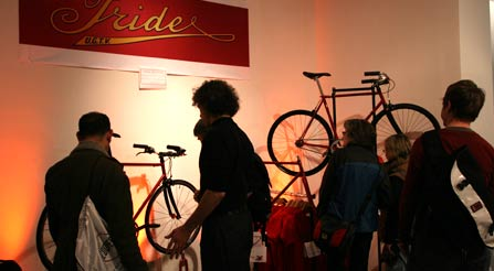 Here are the two new roadsters, plus you can see the really nice Iride t-shirts.image of f-new-york-city-bicycle-trade-show-gran-fondo-iride-bicycles-urban-riding-specialists-high-performance-street-speed-artisanally-made-bikes-by-hand-show-with-curious-participants
