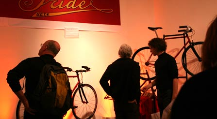 The show engaged many people in the history of Iride and the possibilities of high performance urban cycling.-viewers-fans-of-iride-fine-italian-bicycles-at-gran-fondo-new-york-city-bike-show