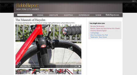 Robb Report NYC Insider features article about Iride bicycles Magazine photo about IRIDE high performance and components
