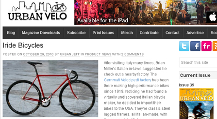 Urban Velo features article about Iride bicycles Magazine photo about IRIDE high performance and components